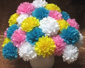 Open,12 Tissue Paper Flowers, 4 inch, You choose colors, cupcake picks, decorations, garland