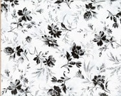 Cotton Fabric in White with Black Speck Flowers - 1 Yard