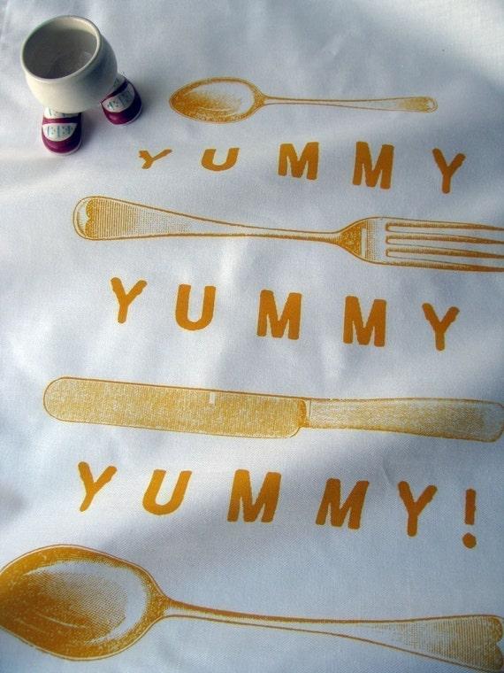 Yummy Tea towel - mustard