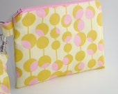 Zippered Wristlet with Detachable Wrist Strap-Yellow and Pink