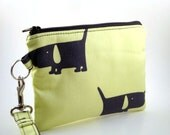 Zippered Wristlet with Detachable Wrist Strap-Michael Miller Fabric-Dogs