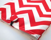 iPad Cover/iPad Sleeve- Red and White Chevron Stripe Fabric