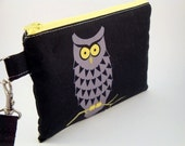 Zippered Wristlet with Detachable Wrist Strap-Michael Miller Fabric-Owls