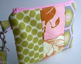 Zippered Wristlet with Detachable Wrist Strap--Amy Butler Fabric
