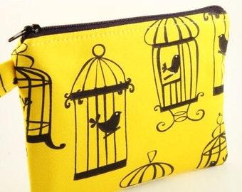 Zippered Wristlet-Michael Miller Fabric-Bird on Yellow