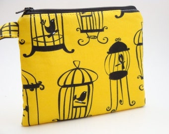 Zippered Wristlet -Michael Miller Fabric-Birds