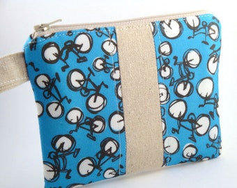 Zippered Wristlet -Bicycles on Blue with Linen