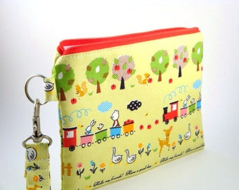 Zippered Wristlet with Detachable Wrist Strap-Imported Japanese Fabric