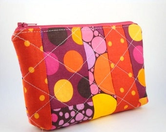 Flat Bottomed Zippered Pouch- Polka Dot Patchwork