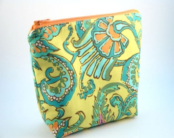 Flat Bottomed Zippered Pouch- Amy Butler Fabric