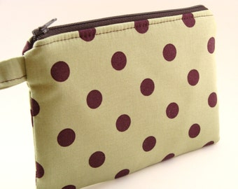 Zippered Wristlet-Green and Brown Polka Dot