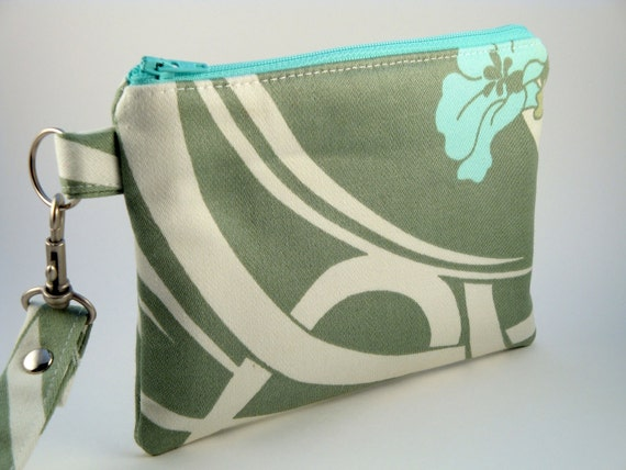 Zippered Wristlet with Detachable Wrist Strap-Amy Butler Fabric