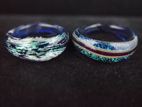Boro Glass Rings Dichroic Lot of 2 Sz. 9-9 1/4 -Dan Rushin (6)