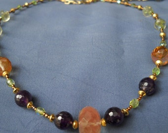 Agate and Amethyst Necklace