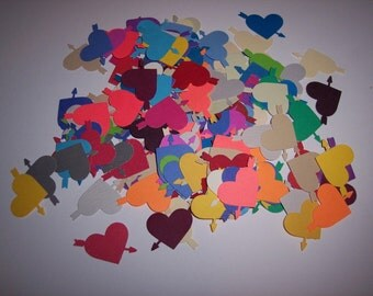 Embellishments hand punched 50 Hearts with arrows