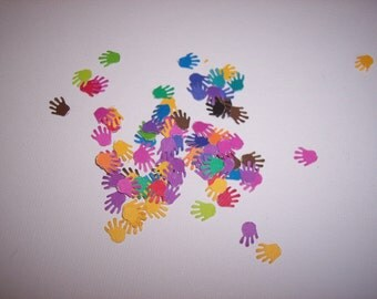 Card making/scrap booking embellishments hand punched 50 colorful hands