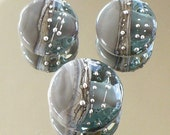 Silvered Dark Grey and Grey Trans. Shiney  Lentil Trio Handmade Lampwork Beads
