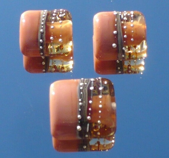 Silvered Ginger and Light Brown Nugget TRIO Handmade Lampwork Beads