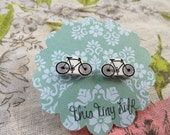 Tiny Bicycle Earrings