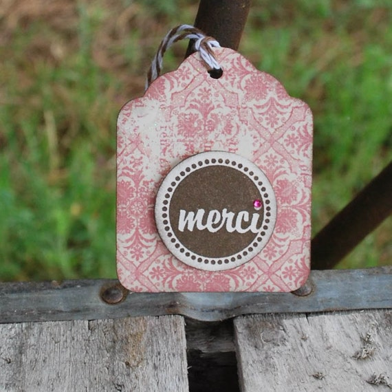 Merci ...pink and brown ..set of 3 tags.