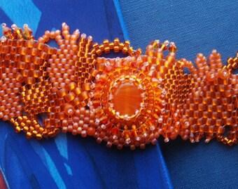 Sun Kissed - Freeform Peyote Bracelet