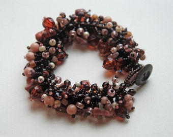 Brown Sugar - Beaded Fringed Bracelet