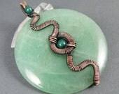 Insidious - Aventurine, Mountain Jade and Copper Pendant - CLEARANCE