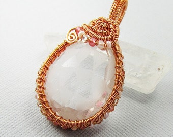 The  Maiden's Heart - Clear Crystal Quartz and Copper Pendant - CLEARANCE