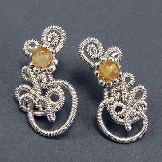 To See the Sun - Citrine and Sterling Silver Post Earrings - CLEARANCE