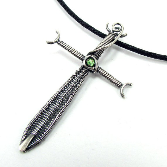 Envious Knight - Swarovski Crystal and Oxidized Sterling Silver Sword Pendant