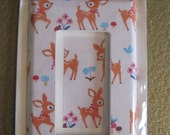 Cutesy Deer fawn Retro print Light Switch Cover Single Decora