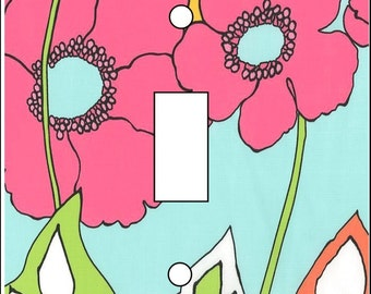 Retro Flower Power Wallpaper inspired single Light Switch Cover toggle