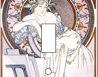 Alphonse Mucha vintage artwork Single Light Switch Cover toggle