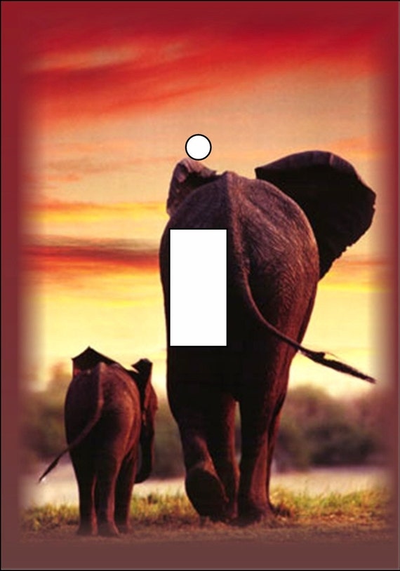 African sunset with an Elephant mon and calf vibrant Light Switch Cover Single Toggle