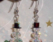 Order forTrisha Sparkle Snowman Holiday Cheer Earrings with Round Swarovski AB Crysals