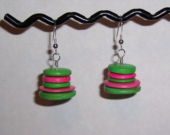 Candy Spree Earrings Pink Green Disk Sterling Silver