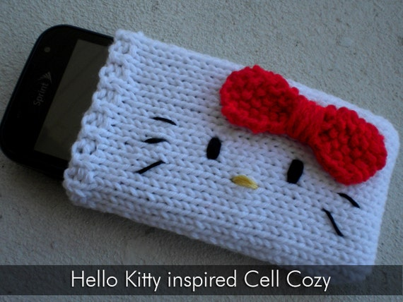 Hello Kitty Knitting Pattern Socks : Items similar to PATTERN: Knit Hello Kitty inspired Cell Phone Cozy (Sock) - ...
