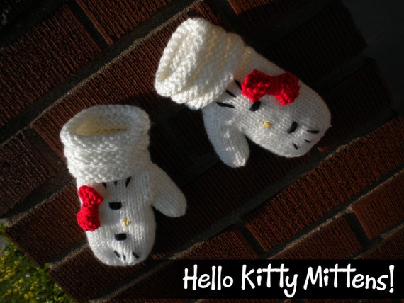 Items similar to PATTERN: Hello Kitty Knit Mittens on Etsy
