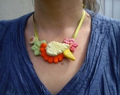 SALE beautiful tangy orange and green bib necklace