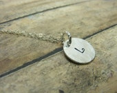 Personalized-handstamped-sterling silverTiny stamped initial necklace