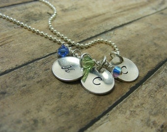 Mommy necklace-Handstamped-personalized-sterling silver necklace- Initial necklace-three discs with swarovski crystals