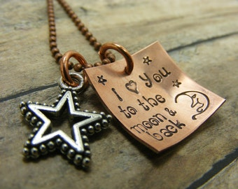 Hand stamped-Mom necklace- I love you to the moon and back-copper-star