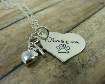 Hand stamped- personalized-Sterling silver-love my dog necklace