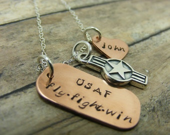 Air Force Love-handstamped necklace-personalizd jewelry