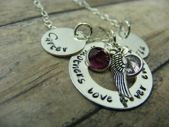 Hand stamped-personalized- sterlingsilver-necklace-a mothers love never ends with angel wing