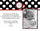 photo thank you card, black and red, ladybug, do it yourself, 5x7