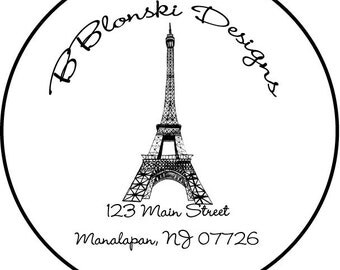 addresss labels, round or square, eiffel tower, set of 20