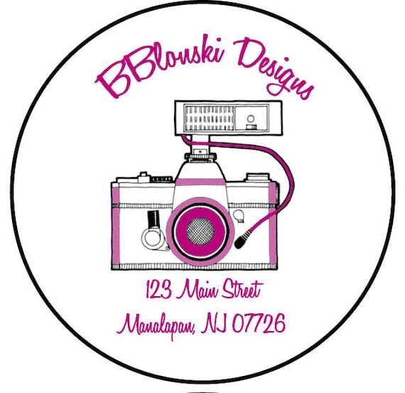 addresss labels, round, camera, photography, set of 20