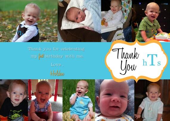 Printable Photo Thank You Card, Monogram - 5x7, up to 10 photos