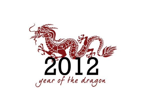 chinese new year, year of the dragon - set of 10 cards